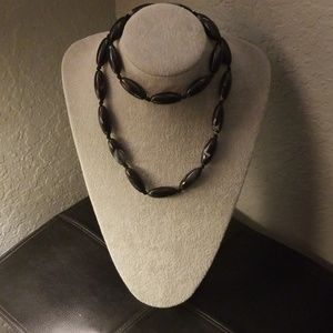 """Express"" Long black Beaded Necklace! Beautiful!"
